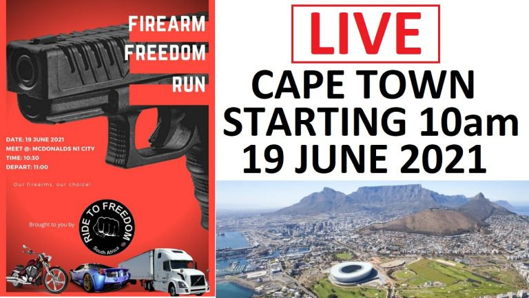 LIVE: Firearm Freedom Run protest in Cape Town from 10 AM Saturday 19 June 2021
